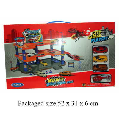 GARAGE WITH 3 DC CARS & HELICOPTER