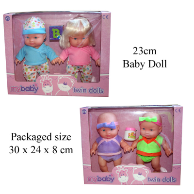 TWIN BABY DOLLS 2PCS  2ASSTD
