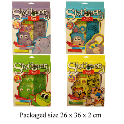 ANIMAL STATIONERY SET (4 ASSTD)