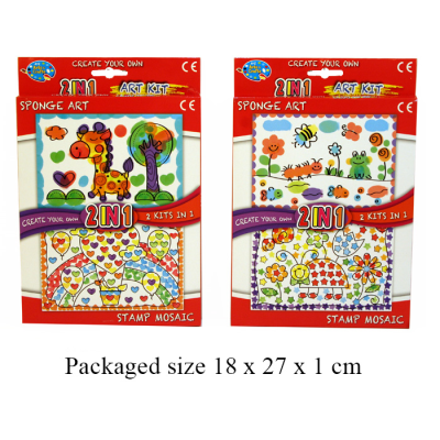 2 IN 1 SPONGE ART/STAMP SET (2 ASST)