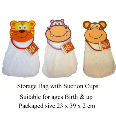 BATH STORAGE BAG W/SUCTION CUP (3 ASSTD)
