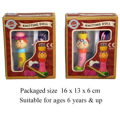 WOODEN PRINCESS KNIT DOLL (2 ASSTD)