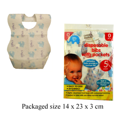 DISPOSABLE BIBS W/POCKETS 5PCS VAT FREE