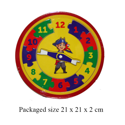 WOODEN PIRATE CLOCK 21CM