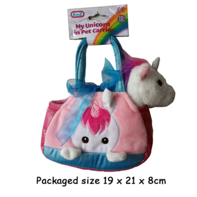 18CM SOFT UNICORN IN CARRIER