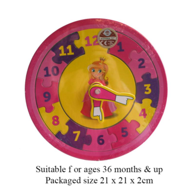 WOODEN PRINCESS CLOCK 21CM