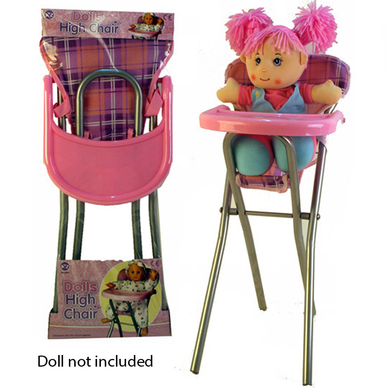 Girls Baby Doll Role Play Pink Feeding High Chair Folding Toys