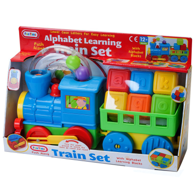 TRAIN SET W/TRAILER & BLOCKS