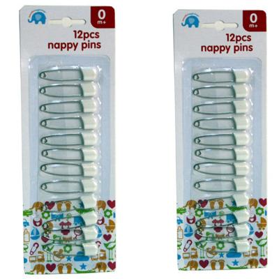 12PCS WHITE NAPPY PINS