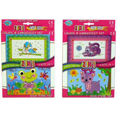 2 IN 1 KIT EMBROIDERY/GEM STONE (2 ASST)
