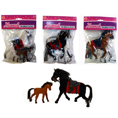 HANNAH FLOCKED HORSE & PONY SET 3 ASSTD